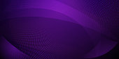 Abstract background made of halftone dots and curved lines in dark purple colors