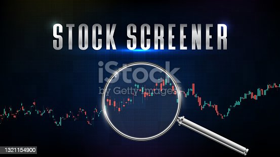 abstract background of stock market screener with magnifying glass and indicator technical analysis graph