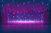 abstract background of technology connection city tower retro tone