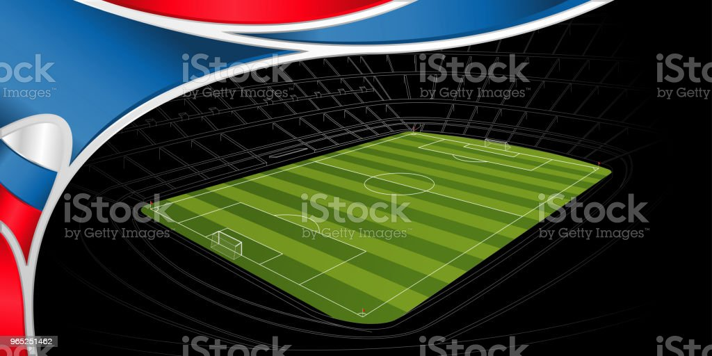 Abstract background of white, blue and red color with the drawing of a stadium with green soccer field on black in the background royalty-free abstract background of white blue and red color with the drawing of a stadium with green soccer field on black in the background stock vector art & more images of activity