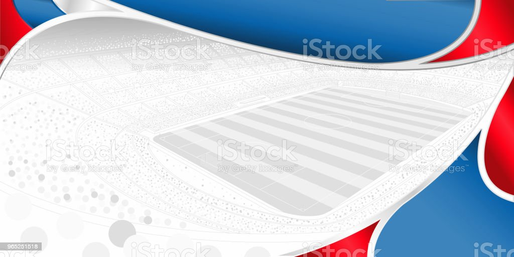Abstract background of white, blue and red color with the drawing of a football stadium full of people in gray tones on white in the background royalty-free abstract background of white blue and red color with the drawing of a football stadium full of people in gray tones on white in the background stock illustration - download image now