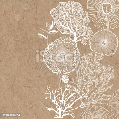 Vector illustration on a marine theme on kraft paper. Abstract sea background with seaweed, shells, corals and place for text.