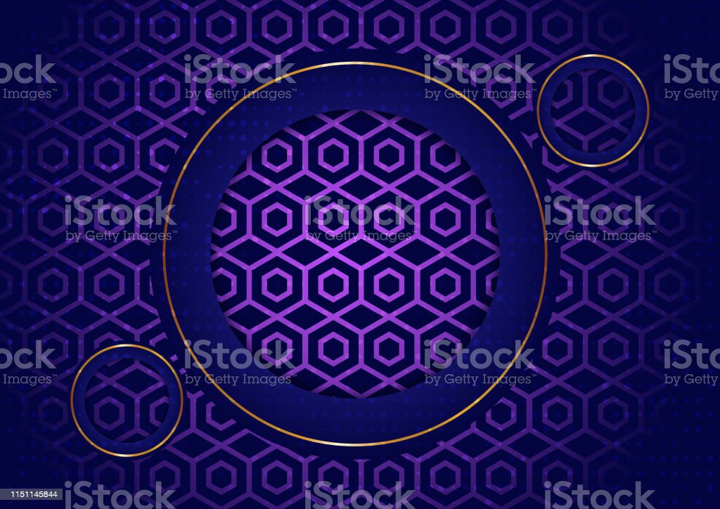Abstract Background On Dark Purple Space With Circle Gold Color Stock Illustration Download Image Now