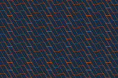Abstract background pattern made with thin lines forming parallelogram shapes in orange and dark blue colors. Modern vector art.