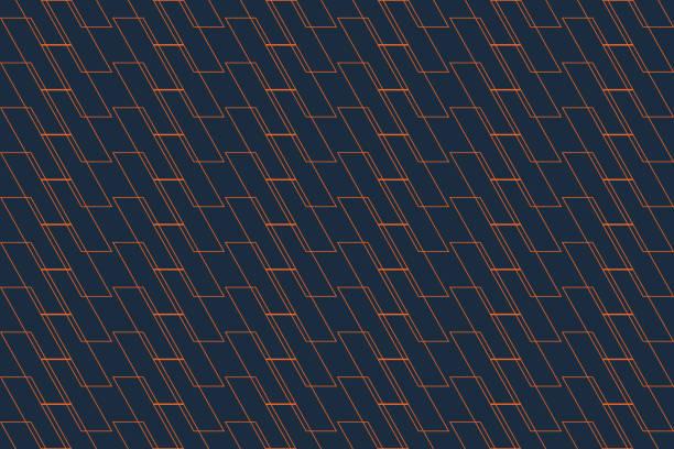 illustrazioni stock, clip art, cartoni animati e icone di tendenza di abstract background pattern made with thin lines forming parallelogram shapes in orange and dark blue colors. modern vector art. - mascolinità