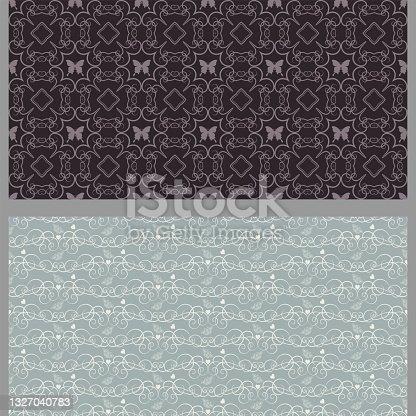istock Abstract background patterns with floral elements in retro style. Set. Used colors: black, brown, gray, wallpaper. Seamless pattern, texture. Vector illustration 1327040783