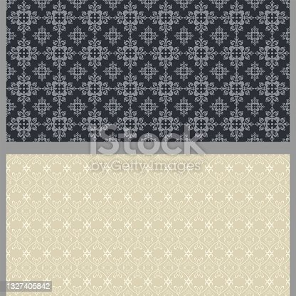 istock Abstract background patterns with floral elements. Set. Retro. Used colors: black, gray, beige, wallpaper. Seamless pattern, texture. Vector illustration 1327405842