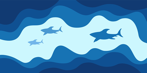 Abstract background, poster, banner. Sea, ocean, waves and sharks composition.