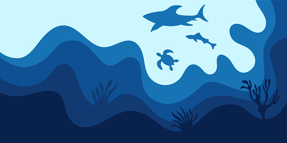 Abstract background, poster, banner. Sea, ocean, waves with shark, turtle and fish.