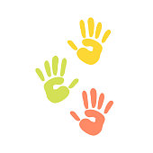 Abstract background prints of hands of the child vector illustration pattern art finger ink color palm trace colorful design thumb symbol