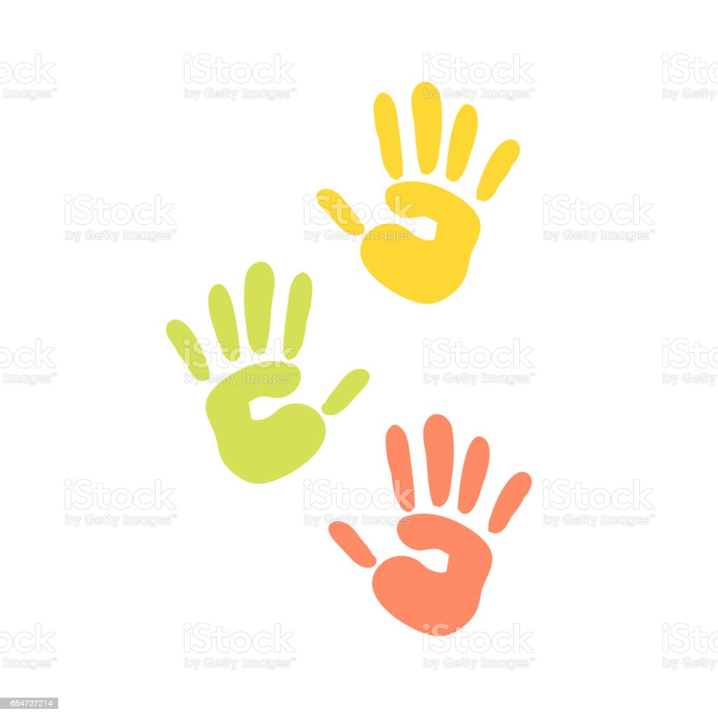 Abstract background prints of hands of the child vector illustration pattern art finger ink color palm trace colorful design thumb symbol - illustrazione arte vettoriale