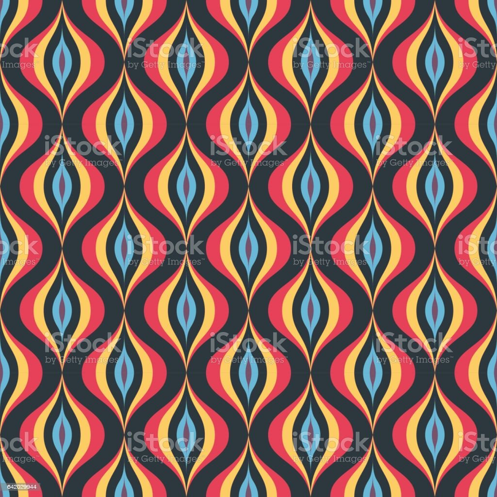 Abstract Background Seamless Vector Pattern Vintage Retro Wallpaper Geometric Backdrop For Web Site Red Blue And Dark Colors Stock Illustration