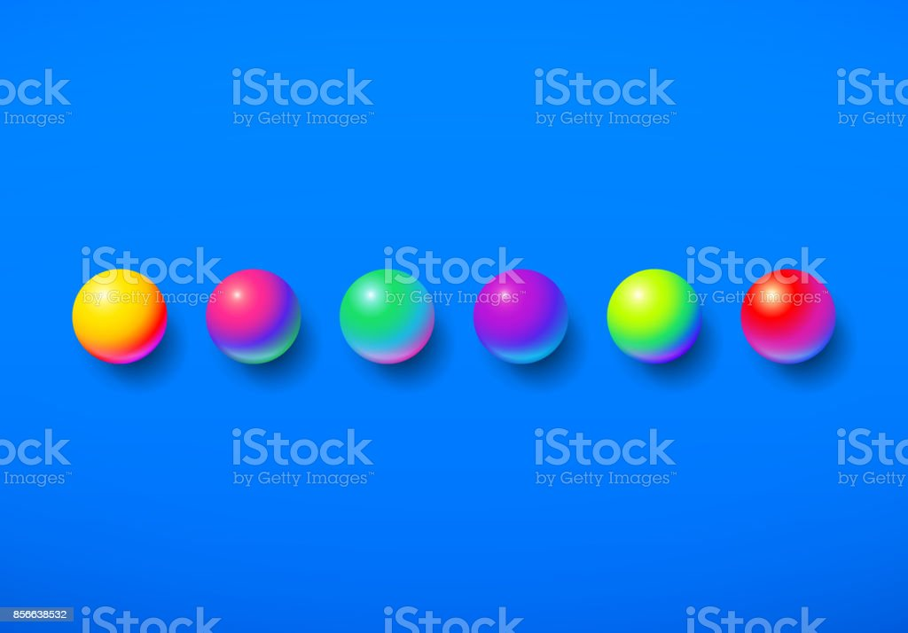 Abstract background shiny memphis acid colored balls over colorful blue backdrop vector art illustration
