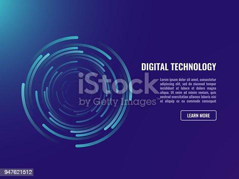 Abstract background, spiral whirlpool data flow circulation neon dark ultraviolet