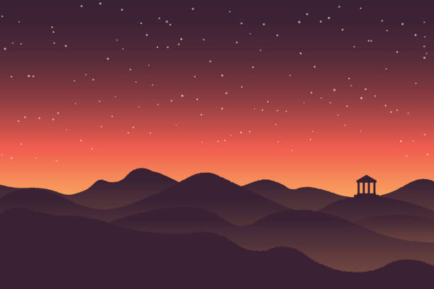 abstract background sunset silhouette mountain scenery - dusk stock illustrations