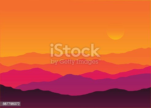 Abstract background sunset silhouette mountain scenery, twilight time, vector illustration