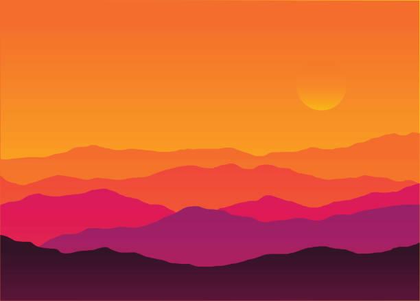 abstrakcyjne tło słońca sylwetka górskiej scenerii - zachód słońca stock illustrations