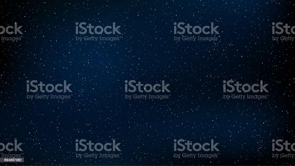 Abstrato. O belo céu estrelado é azul. As estrelas brilham na escuridão completa. Uma deslumbrante galáxia. Espaço aberto. Ilustração em vetor. EPS 10 - ilustração de arte em vetor