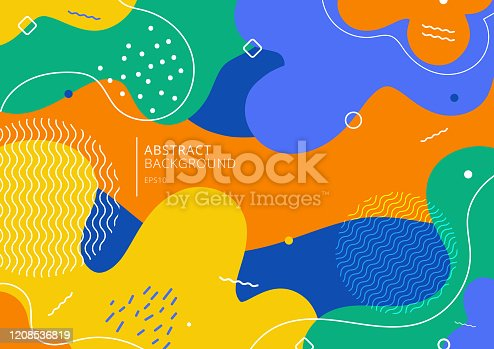istock Abstract background trendy colorful splash cartoon overlay spot pattern 1208536819