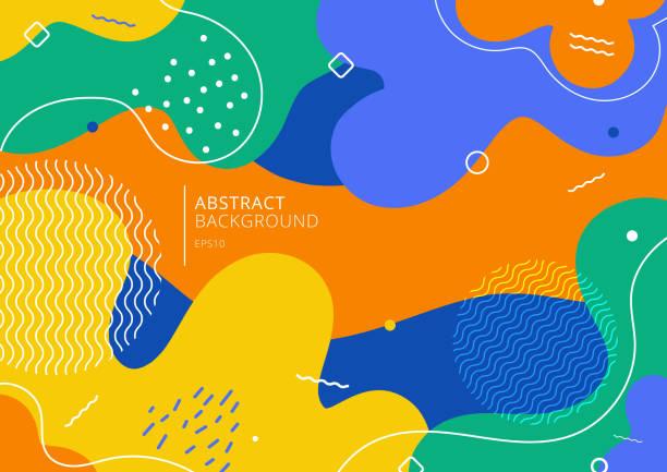 abstrakte hintergrund trendige bunte splash cartoon overlay spot-muster - designelement stock-grafiken, -clipart, -cartoons und -symbole