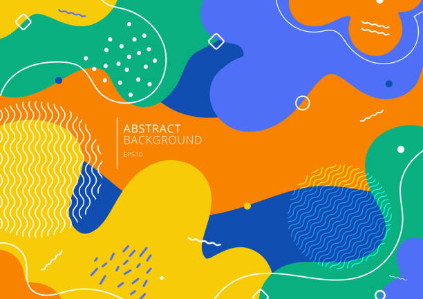 Abstract background trendy colorful splash cartoon overlay spot pattern Abstract background trendy colorful splash cartoon overlay spot pattern of geometric shape, line and dot. 80s-90s style. Vector illustration design element stock illustrations