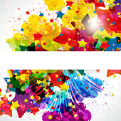Abstract festive background with bright colorful stars. EPS 10 file, contains transparencies