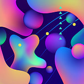 Vector illustration, abstract background with wavy gradient abstract shapes.