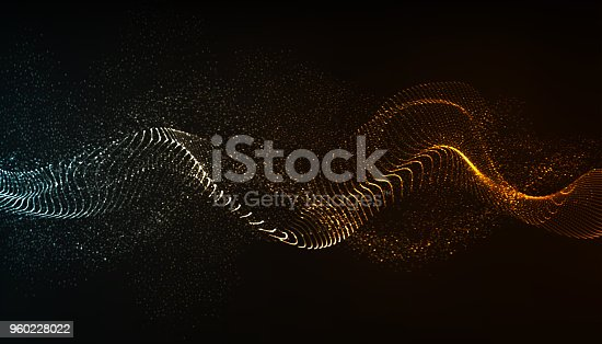 Dynamic wave flow, with blurred light effect.