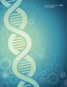 Vector of abstract DNA structure and green color background.