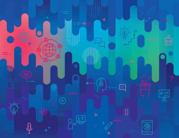 抽象背景ウェビナーラインアイコンセット - ゲーム ヘッドフォン点のイラスト素材/クリップアート素材/マンガ素材/アイコン素材