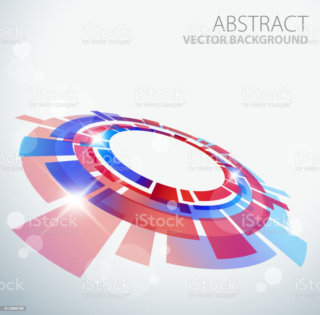 Abstract background with 3D red and blue object vector art illustration