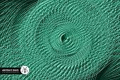 Single Line, Wave Pattern, Data, Circle, World Map, Green