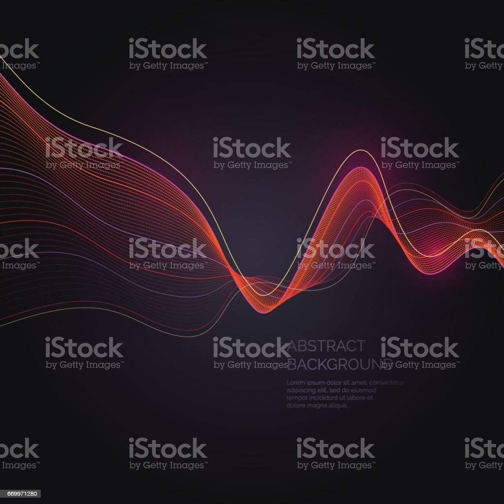Abstract background with a dynamic waves and particles vector art illustration