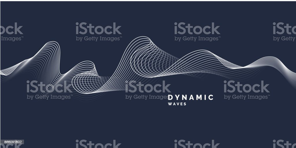 Abstract background with a dynamic waves vector art illustration