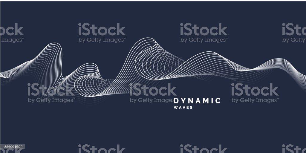 Abstracte achtergrond met een dynamische golvenvectorkunst illustratie