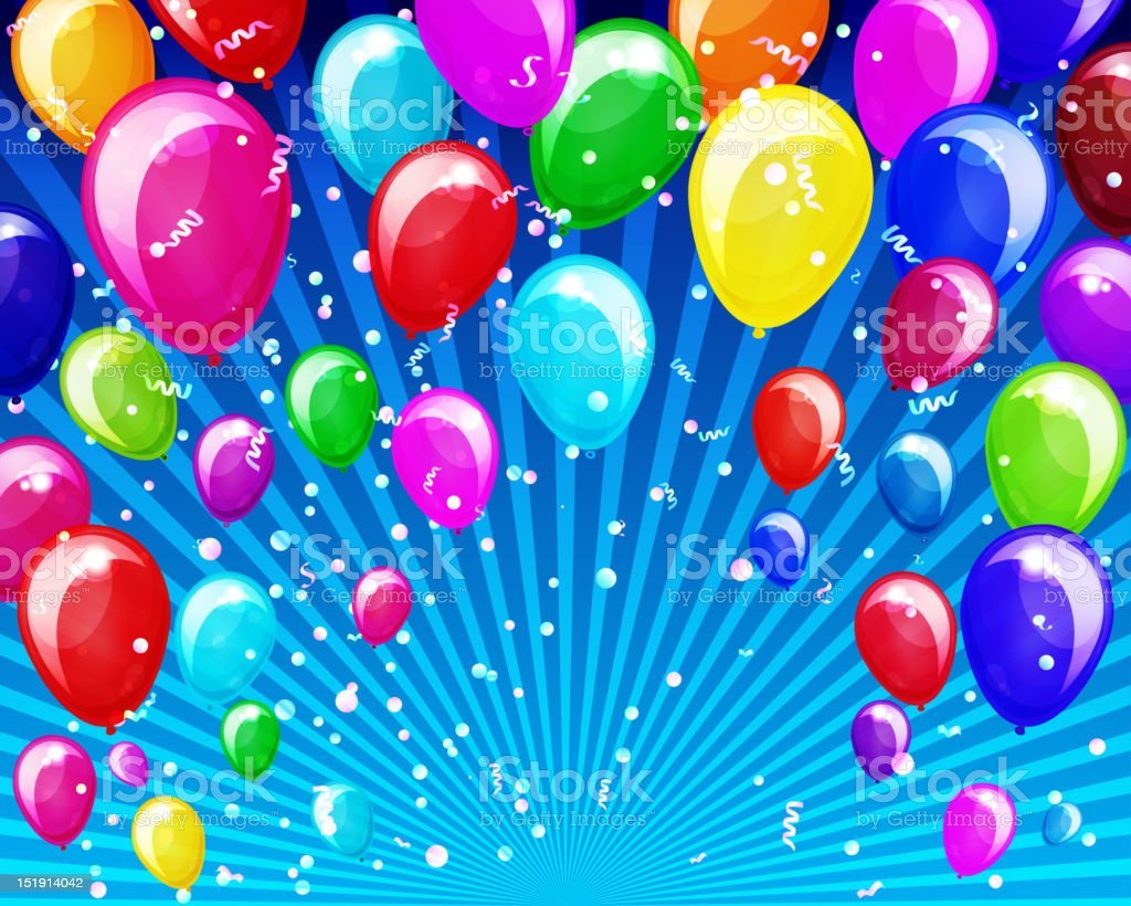 Abstract background with balloons vector art illustration