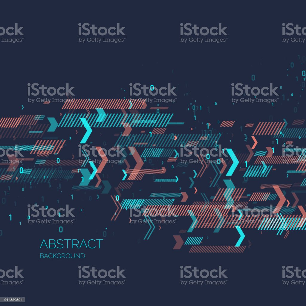 Abstrato com código binário. Análise e transferência de dados - ilustração de arte em vetor