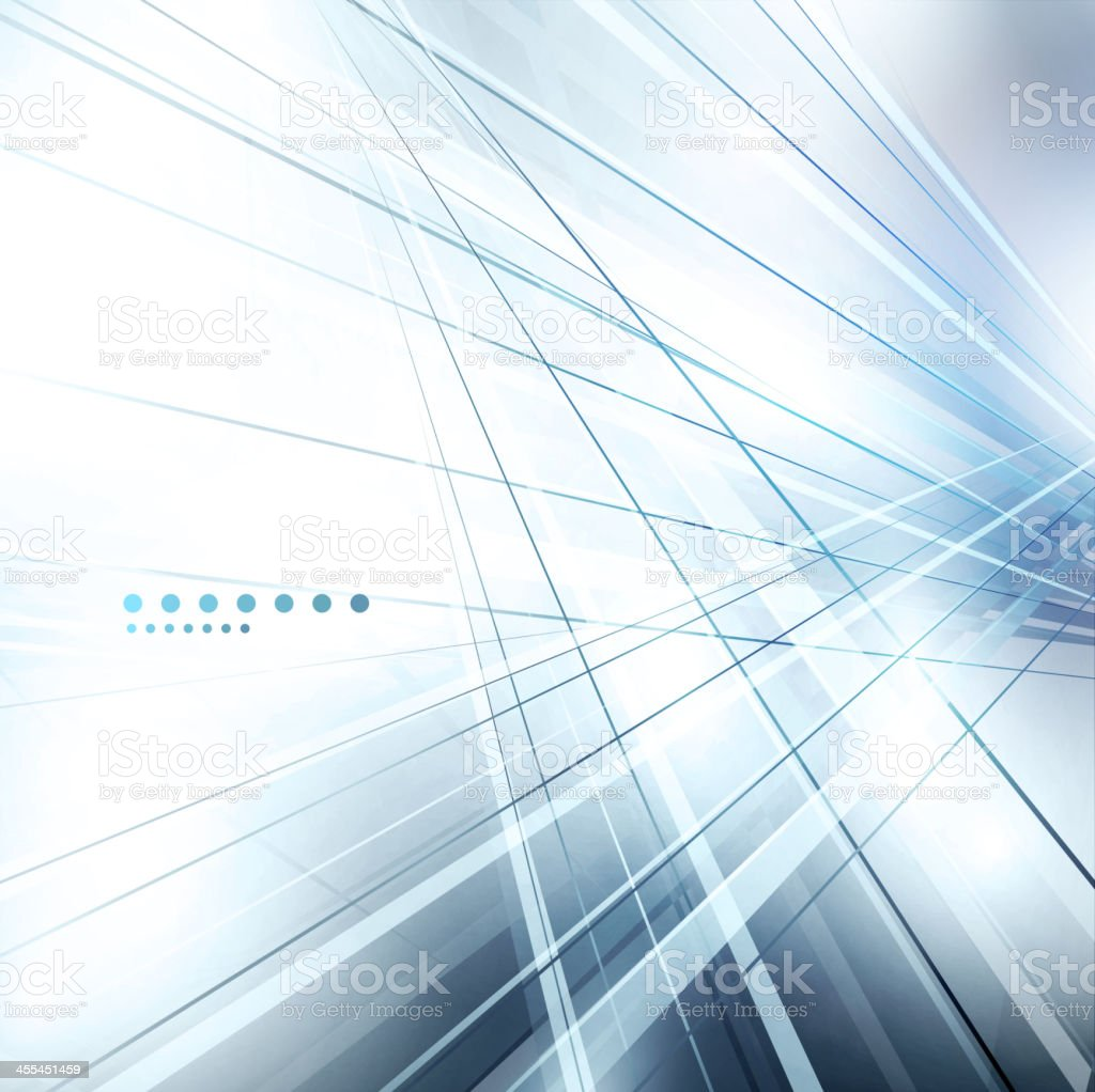 Abstract background with blue lines and dots vector art illustration