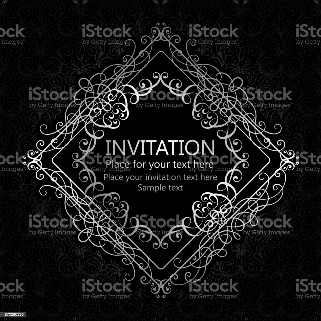 Abstract Background With Calligraphic Luxury Silver Flourishes And Vintage Frame Victorian Bannerwallpaper Ornaments