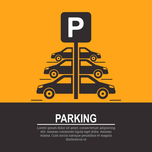 stockillustraties, clipart, cartoons en iconen met abstracte achtergrond met auto's en verkeersbord - parking