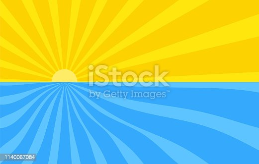 Abstract background with cartoon rays of yellow and blue color. Sun and ocean, summer template for your projects. The cartoon sunrise over the wave sea.