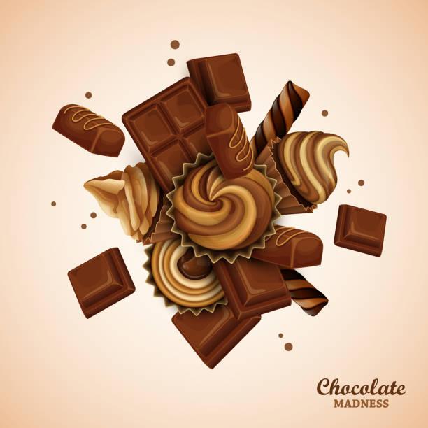 zusammenfassung hintergrund mit schokolade und cupcakes - tortenriegel stock-grafiken, -clipart, -cartoons und -symbole