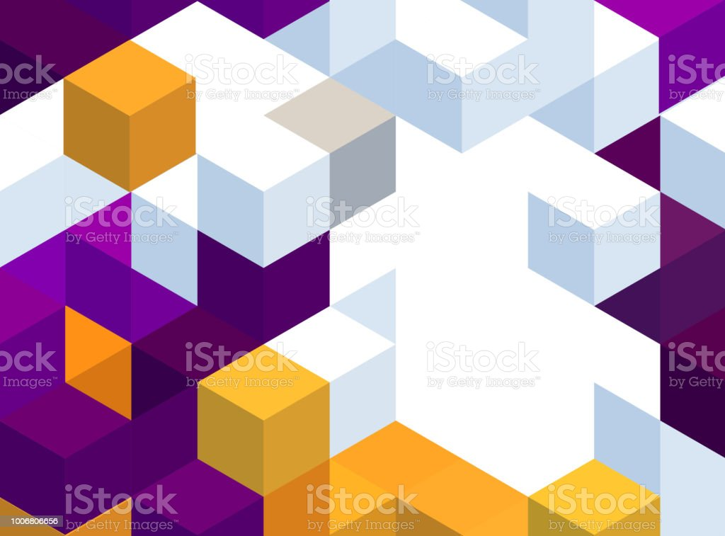 Abstract background with color cubes and grid vector art illustration