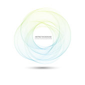 Abstract background with color ellipses Round transparent blue-green lines