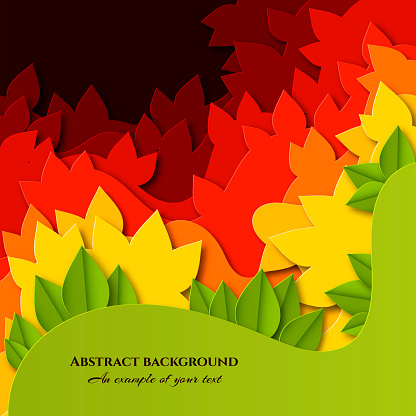 Abstract Background with colorful leaves in paper cut style. Layered autumn design for posters, invitations, business cards, banners, advertising. Vector