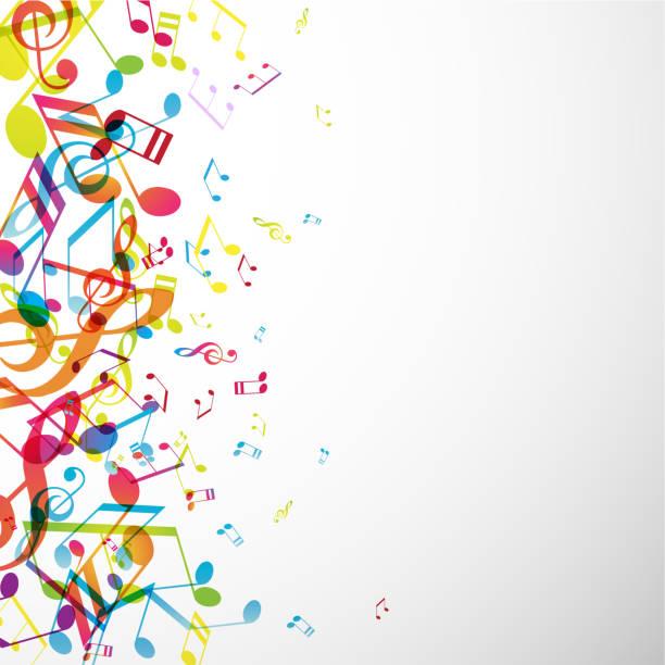 zusammenfassung hintergrund mit bunten melodien. - musiksymbole stock-grafiken, -clipart, -cartoons und -symbole