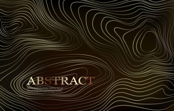 stockillustraties, clipart, cartoons en iconen met abstracte achtergrond met gekruld lineair gouden patroon. vector schets illustratie van diffusie vloeiende krullende lijnen. toepasselijk voor dekking, banner, affiche, ontwerp. - golvend haar