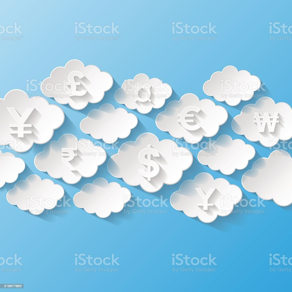 Abstract background with currency symbols vector art illustration