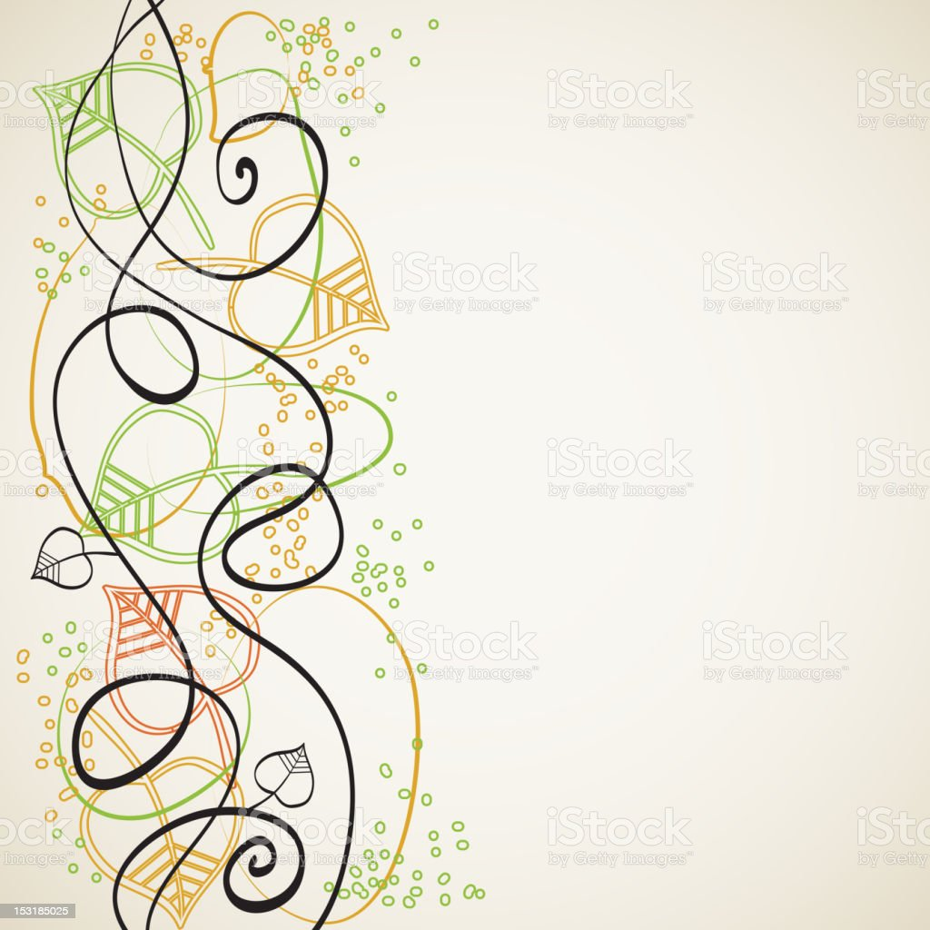 Abstract background with curves and leaves royalty-free stock vector art
