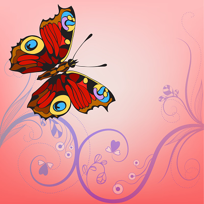 abstract background with decorative flowers and butterfly
